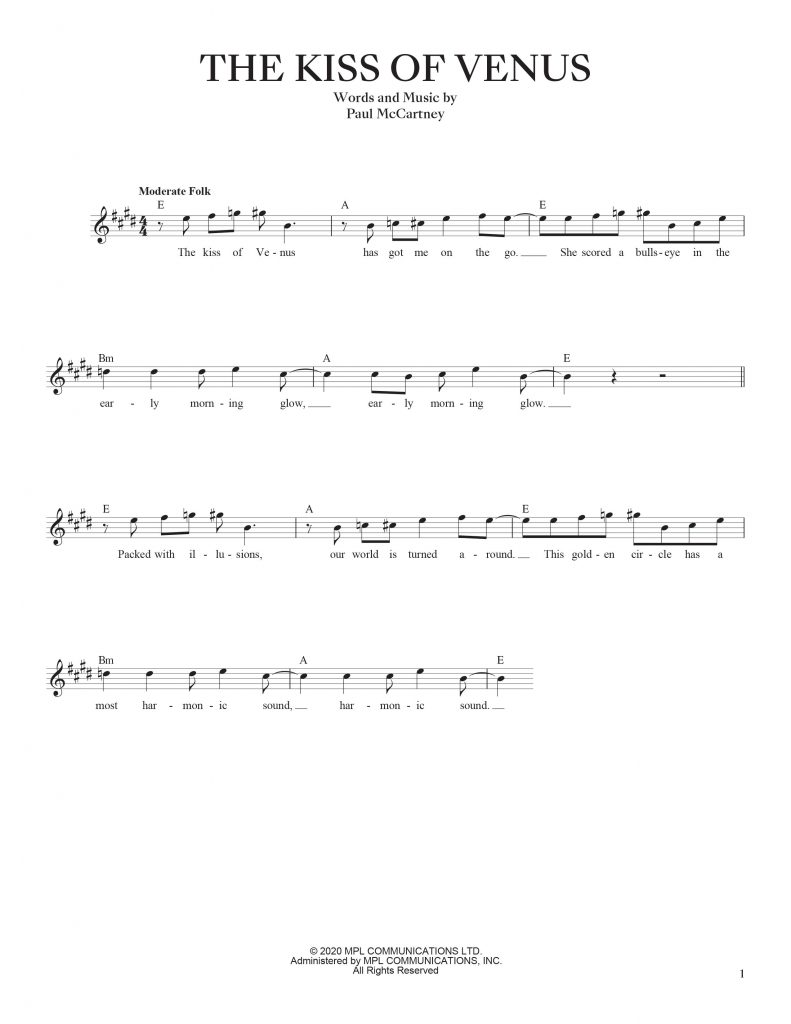 the kiss of Venus sheet music