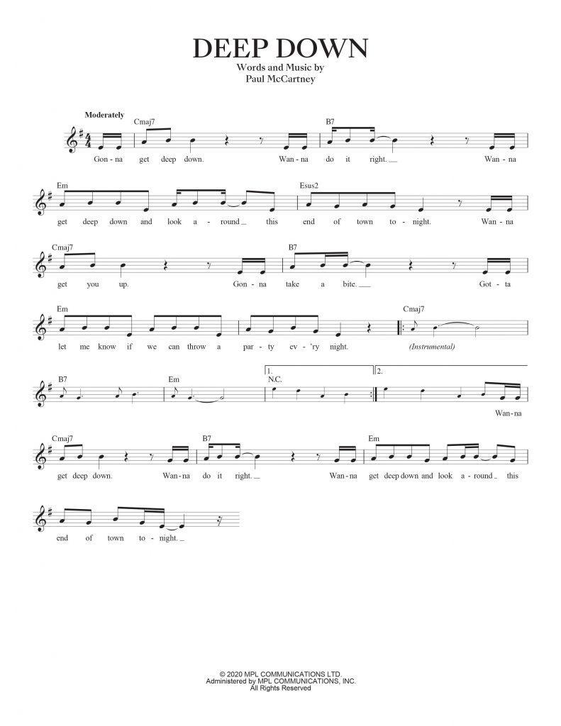 deep down sheet music