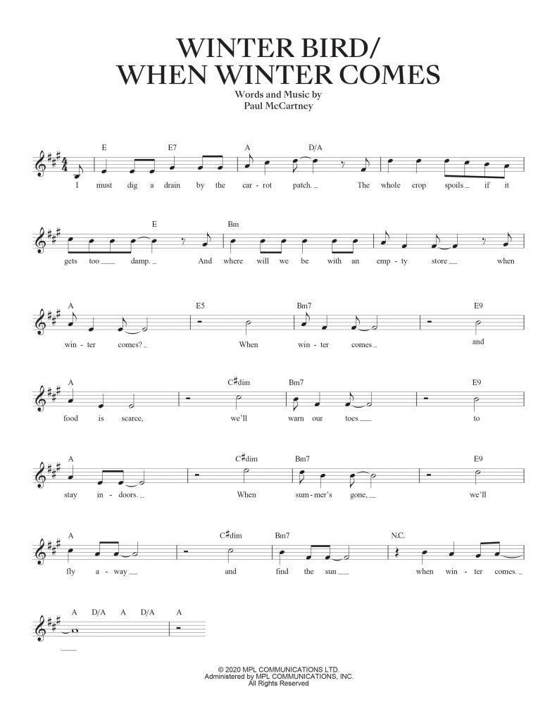 Winter Bird - When Winter Comes sheet music